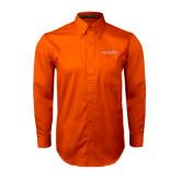 Orange Twill Button Down Long Sleeve-Bearkats