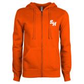 ENZA Ladies Orange Fleece Full Zip Hoodie-Primary Athletics Mark