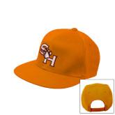 Orange Flat Bill Snapback Hat-SH Paw Official Logo
