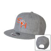 Heather Grey Wool Blend Flat Bill Snapback Hat-SH Paw Official Logo