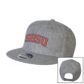 Heather Grey Wool Blend Flat Bill Snapback Hat-Arched SHSU
