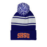 Royal/White Two Tone Knit Pom Beanie with Cuff-Arched SHSU