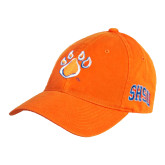 Orange Twill Unstructured Low Profile Hat-Paw
