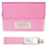 Business Card Case and Key Ring Set Pink-Arched SHSU Engraved