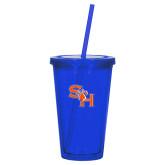 Madison Double Wall Blue Tumbler w/Straw 16oz-SH Paw Official Logo
