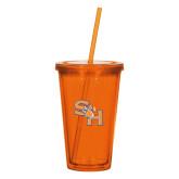 Madison Double Wall Orange Tumbler w/Straw 16oz-SH Paw Official Logo