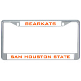 Metal License Plate Frame in Chrome-Bearkats