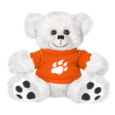 Plush Big Paw 8 1/2 inch White Bear w/Orange Shirt-Secondary Athletics Mark