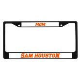 Mom Metal License Plate Frame in Black-Sam Houston Wordmark