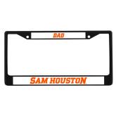 Dad Metal License Plate Frame in Black-Sam Houston Wordmark