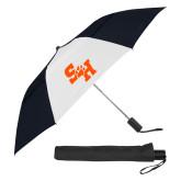 42 Inch Slim Stick Black/White Vented Umbrella-Primary Athletics Mark