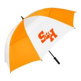 62 Inch Orange/White Vented Umbrella-Primary Athletics Mark