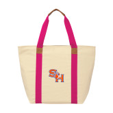 Natural/Tropical Pink Saratoga Tote-SH Paw Official Logo