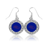 Crystal Studded Round Pendant Silver Dangle Earrings-SSU