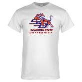 White T Shirt-SSU w/ Tiger Savannah  State University Stacked Distressed