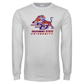 White Long Sleeve T Shirt-SSU w/ Tiger Savannah  State University Stacked Distressed