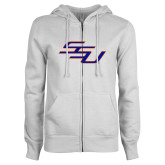 ENZA Ladies White Fleece Full Zip Hoodie-SSU