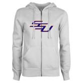 ENZA Ladies White Fleece Full Zip Hoodie-SSU