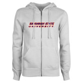ENZA Ladies White Fleece Full Zip Hoodie-Horizontal Mark