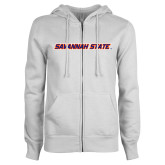 ENZA Ladies White Fleece Full Zip Hoodie-Wordmark
