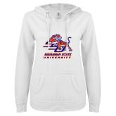 ENZA Ladies White V Notch Raw Edge Fleece Hoodie-Official Logo