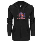 ENZA Ladies Black Light Weight Fleece Full Zip Hoodie-Official Logo