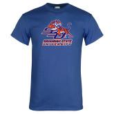 Royal T Shirt-SSU w/ Tiger Savannah  State University Stacked Distressed
