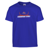 Youth Royal T Shirt-Football Field Design