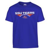 Youth Royal T Shirt-Stacked Football Design