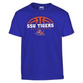 Youth Royal T Shirt-Stacked Basketball Design