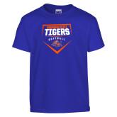 Youth Royal T Shirt-Softball Plate Design