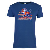 Ladies Royal T Shirt-SSU w/ Tiger Savannah  State University Stacked Distressed