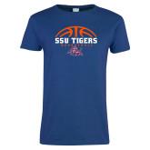 Ladies Royal T Shirt-Stacked Basketball Design