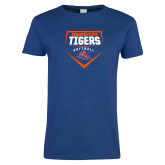 Ladies Royal T Shirt-Softball Plate Design
