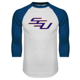 White/Royal Raglan Baseball T Shirt-SSU