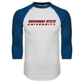 White/Royal Raglan Baseball T Shirt-Horizontal Mark