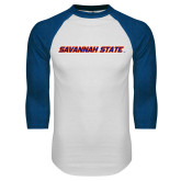White/Royal Raglan Baseball T Shirt-Wordmark