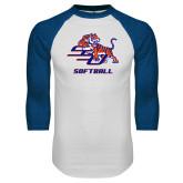 White/Royal Raglan Baseball T Shirt-Softball