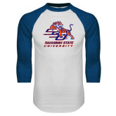 White/Royal Raglan Baseball T Shirt-SSU w/ Tiger Savannah  State University Stacked Distressed
