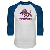 White/Royal Raglan Baseball T Shirt-SSU w/ Tiger Savannah  State University Stacked Distressed
