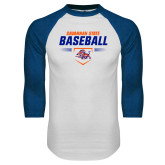 White/Royal Raglan Baseball T Shirt-Baseball Design