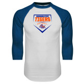 White/Royal Raglan Baseball T Shirt-Softball Plate Design