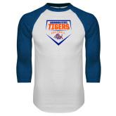White/Royal Raglan Baseball T Shirt-Softball Plate Design