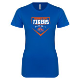 Next Level Ladies SoftStyle Junior Fitted Royal Tee-Softball Plate Design