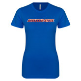 Next Level Ladies SoftStyle Junior Fitted Royal Tee-Wordmark