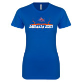 Next Level Ladies SoftStyle Junior Fitted Royal Tee-Football Field Design