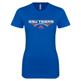 Next Level Ladies SoftStyle Junior Fitted Royal Tee-Stacked Football Design