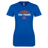 Next Level Ladies SoftStyle Junior Fitted Royal Tee-Stacked Basketball Design