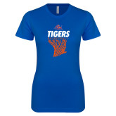 Next Level Ladies SoftStyle Junior Fitted Royal Tee-Basketball Net Design