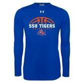 Under Armour Royal Long Sleeve Tech Tee-Stacked Basketball Design